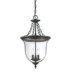 Belle Collection Hanging Lantern 3-Light Outdoor Fixture in Matte Black