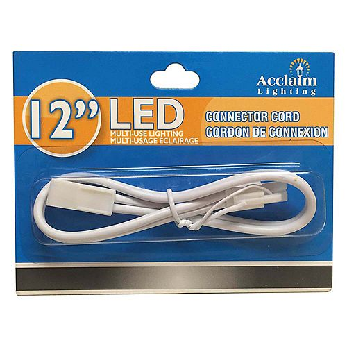 Acclaim 12 inch Connector Cord for Undercabinet LED - White