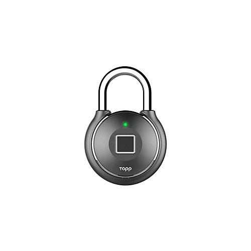 One Plus Smart Fingerprint Scanning Rechargeable Padlock - Gun Metal