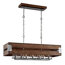 Semi-plafonnier et suspension à 7 ampoules avec globes en verre transparent Ackwood, bois foncé