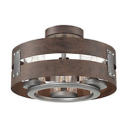 Ackwood 3-Light Espresso Clear Glass Semi-Flushmount and Pendant Light Fixture