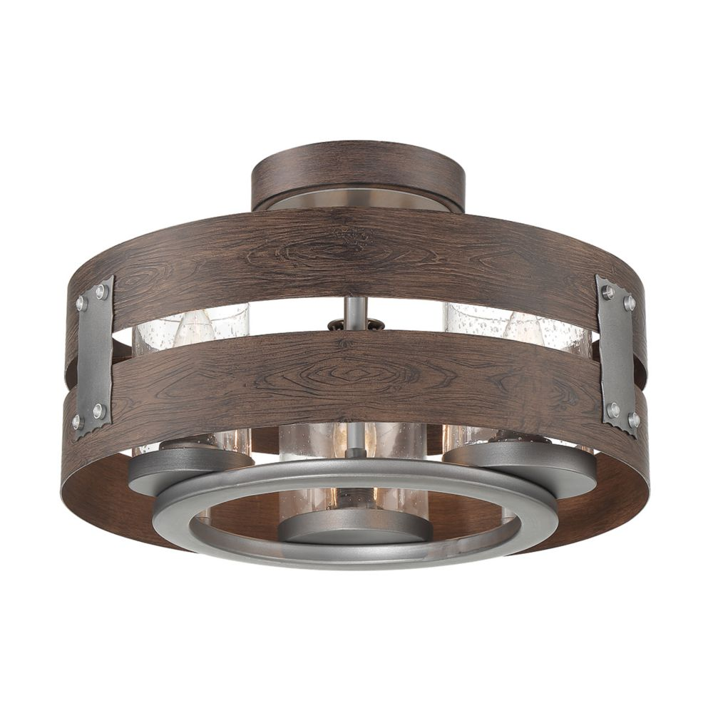 Eurofase Ackwood 3-Light Espresso Clear Glass Semi-Flushmount and Pendant Light Fixture