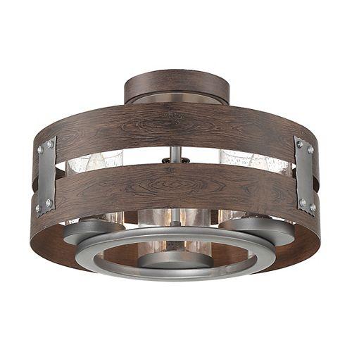 Semi-plafonnier et suspension à 3 ampoules en verre transparent Ackwood, espresso