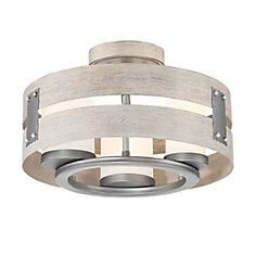 Semi-plafonnier et suspension à 3 ampoules en verre transparent Ackwood, gris