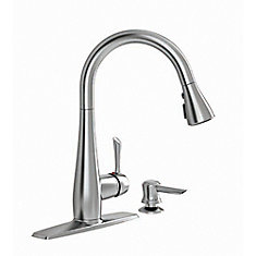 Olvera 1 Handle High Arc Pull Down Kitchen Faucet with Soap Dispenser