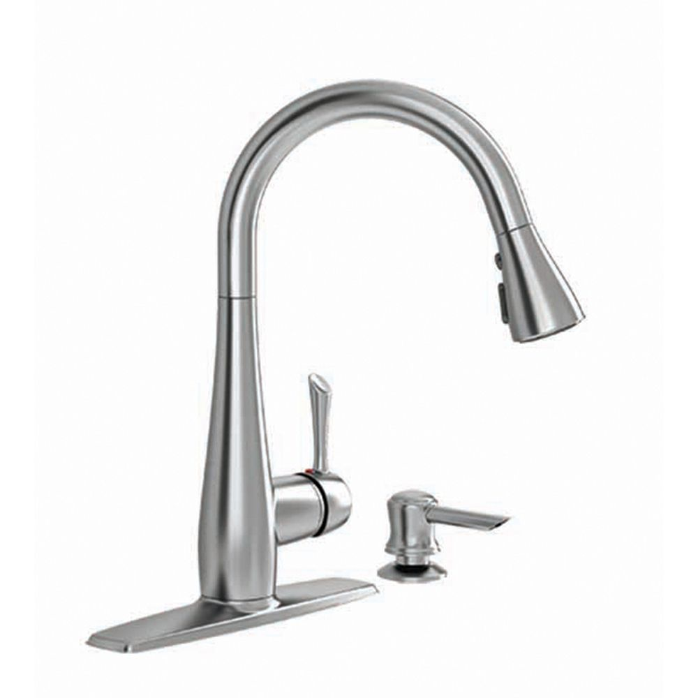 Delta Charmaine Single Handle Pull-Down Kitchen Faucet with Soap Dispenser & ShieldSpray in Stainless Steel 19962Z-SSSD-DST