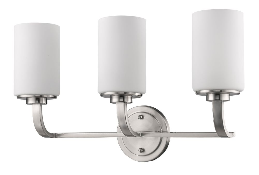 Acclaim Addison Indoor 3-Light Vanity with glass Shades In Satin Nickel