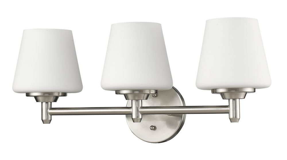 Acclaim Paige Indoor 3-Light Vanity with Glass Shades In Satin Nickel