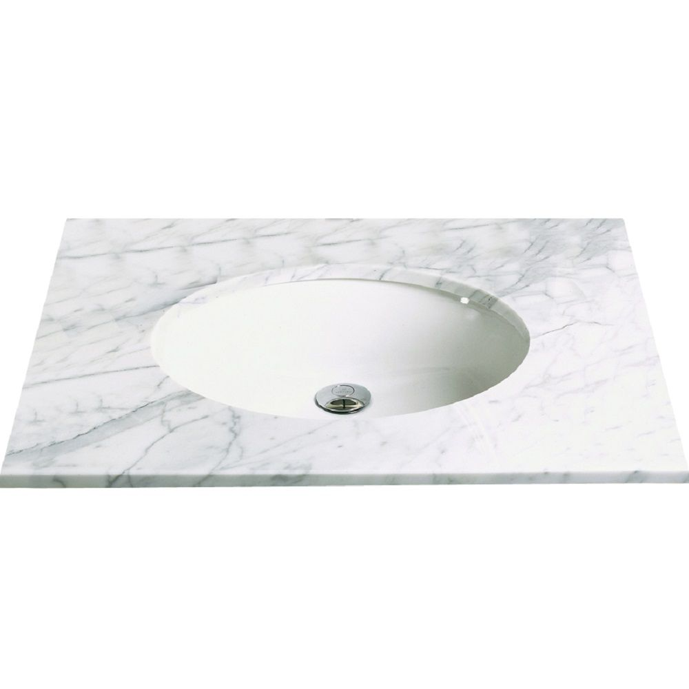 Decolav Carlyn Oval Biscuit Vitreous China Undermount Lavatory with Overflow