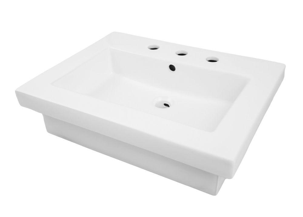 Decolav Corrina Rectangular Semi-Recessed Bathroom Sink White