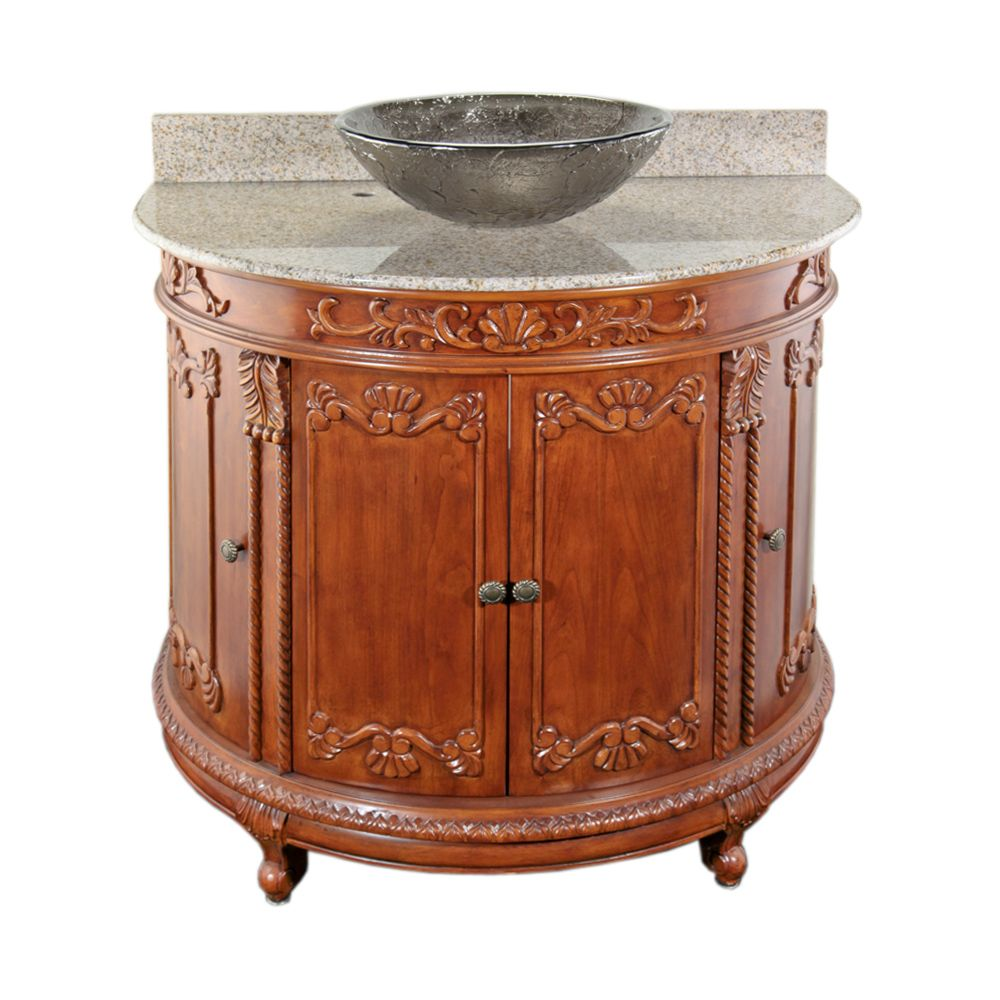 JSG Oceana Oak Semi-Circle Vanity with Beige Top & 16 inch Black Nickel Oceana Vessel
