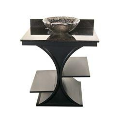 JSG Oceana Black Cruz Vanity with Black Granite Top & 16 inch Black Nickel Oceana Vessel