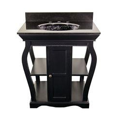 JSG Oceana Black Vineta Vanity with Black Granite Top & Black Nickel Oceana Undermount