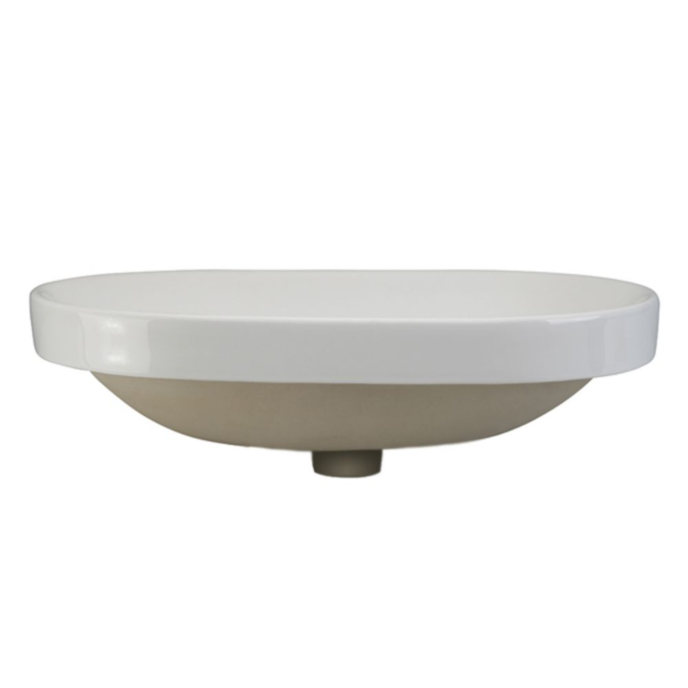 Decolav Ava Semi-Recessed Oval Lavatory White