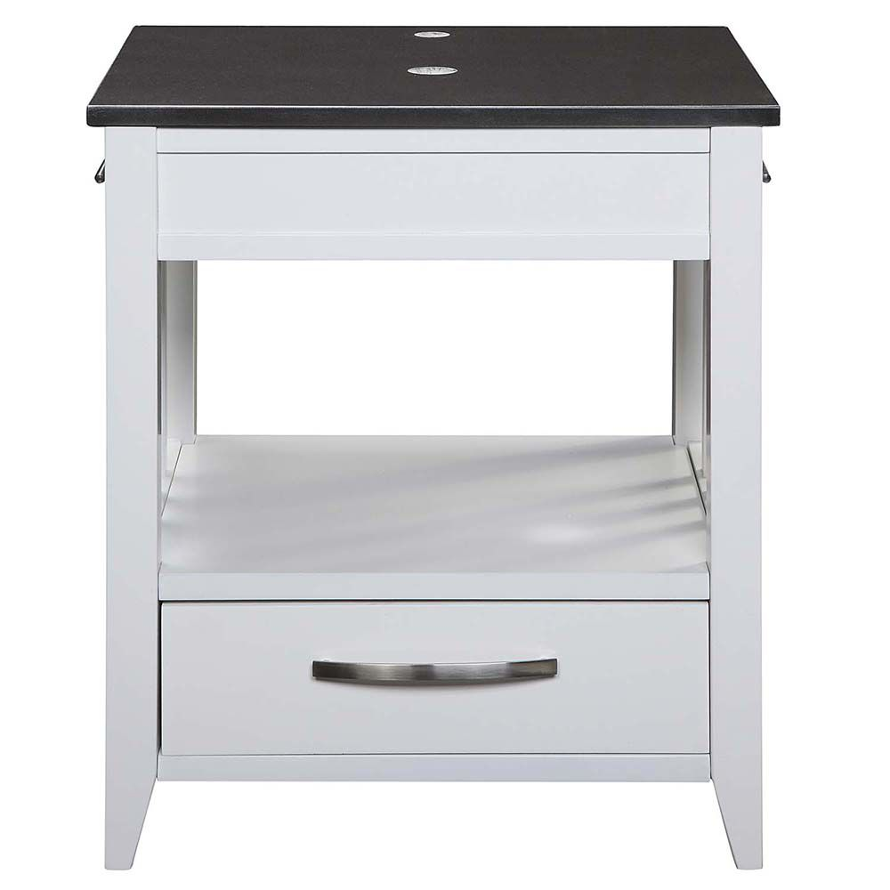 Decolav Ambrosia Collection 24 inch White Vanity with Black Granite Top