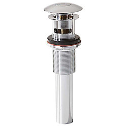 Decolav Chrome Polished Push Button Closing Umbrella Drain with Overflow