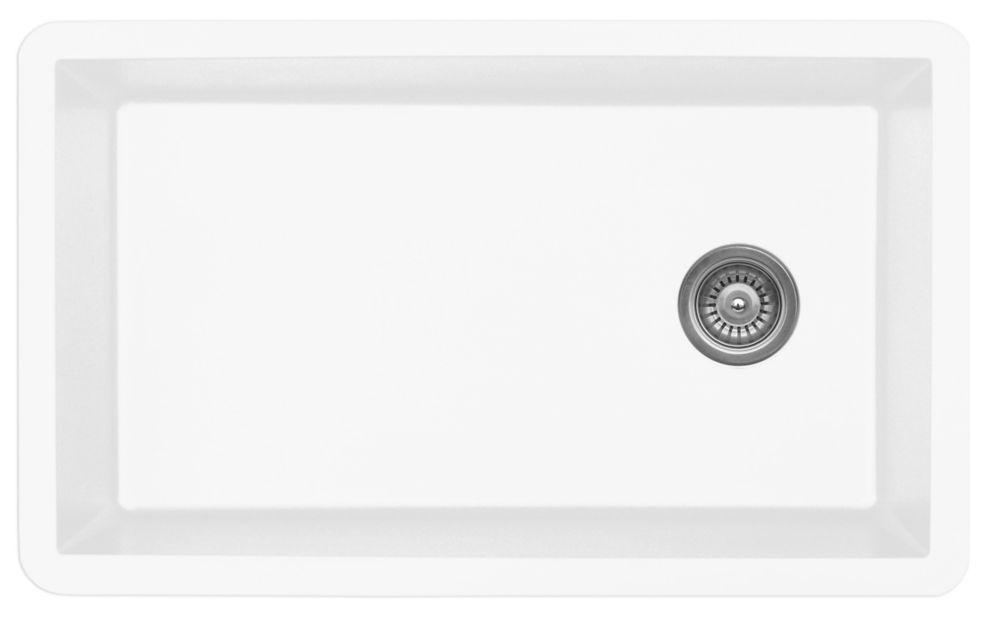 Karran Quartz 32 inch Large Single Bowl in White