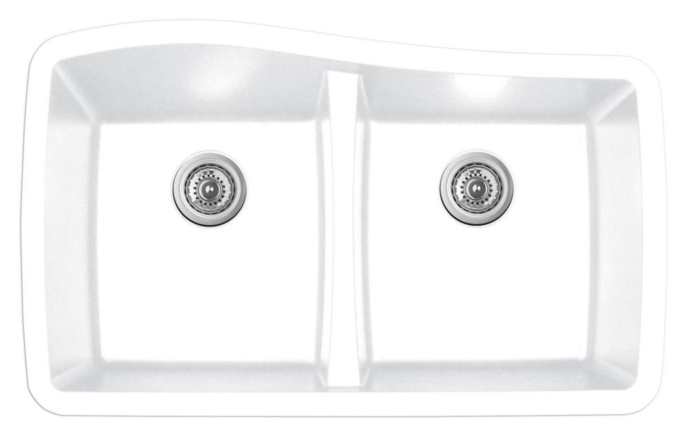 Karran Quartz 33.5 inch Double Bowl in White