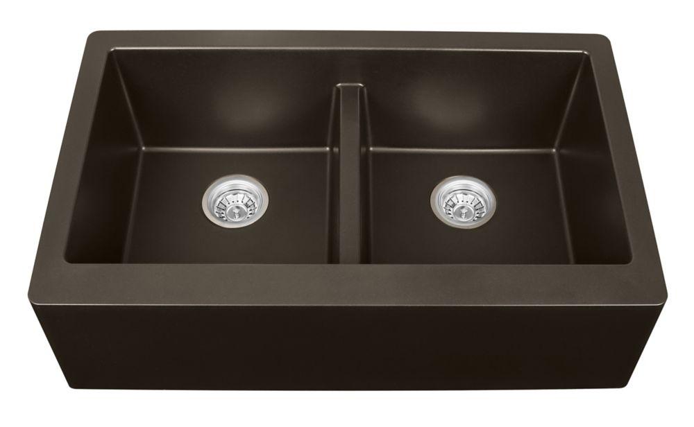 Karran Quartz 34 inch Double Apronfront sink in Brown