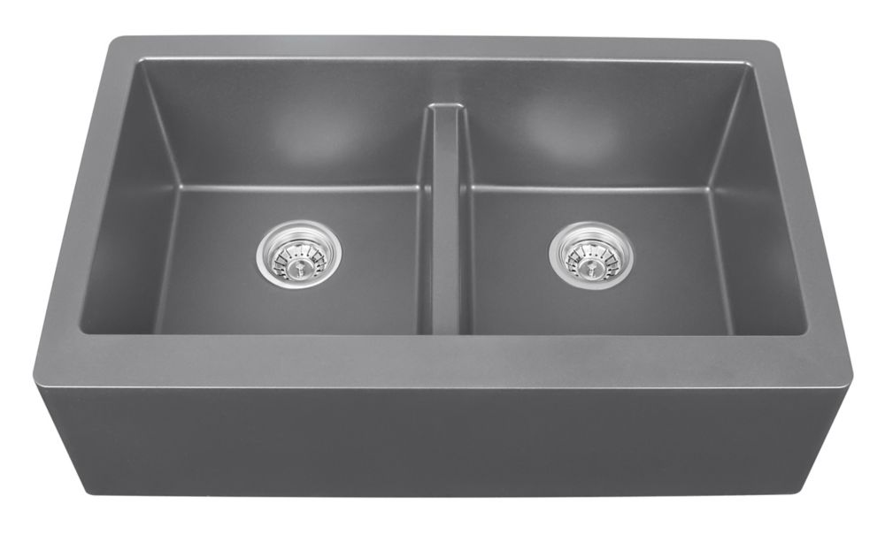 Karran Quartz 34 inch Double Apronfront sink in Grey
