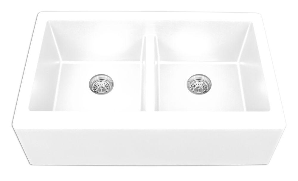 Karran Quartz 34 inch Double Apronfront sink in White