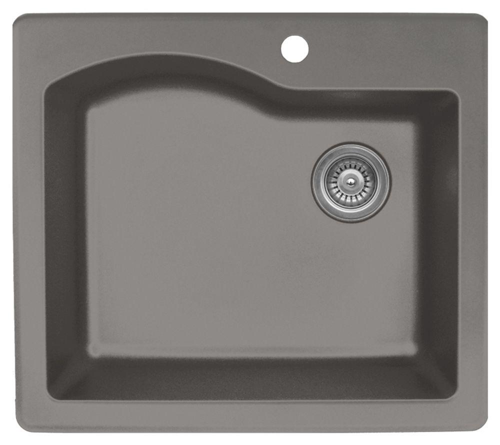 Karran Quartz 25 inch Single Bowl in Concrete