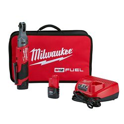 Milwaukee Tool M12 FUEL 12V Lithium-Ion Brushless Cordless 1/4-Inch Ratchet Kit W/ (2) 2.0Ah Batteries & Tool Bag