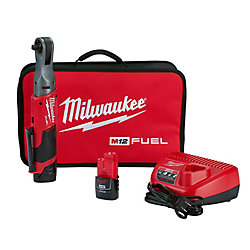 M12 FUEL 12V Lithium-Ion Brushless Brushless 3/8-Inch Ratchet Kit W/ (2) 2.0Ah Batteries & Sac à outils