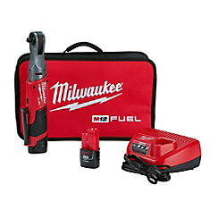 M12 FUEL 12V Lithium-Ion Brushless Cordless 3/8-Inch Ratchet Kit W/ (2) 2.0Ah Batteries & Tool Bag