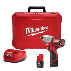 Milwaukee Tool M12 12V Lithium-Ion Cordless 1/4-Inch Impact Driver Kit W/(2) 1.5Ah Batteries, Charger & Case