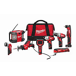 M12 12V Lithium-Ion Cordless Combo Tool Kit (8-Tool) w/ (2)1.5Ah & (1)3.0Ah Batteries & Tool Bag