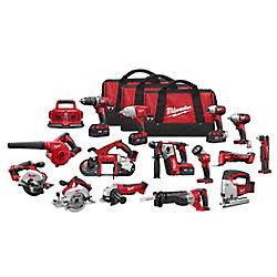 Milwaukee Tool M18 18V Li-Ion Cordless Combo Tool Kit (15-Tool) w/(4)4.0Ah Batteries, 6-Port Charger & (3)Tool Bags