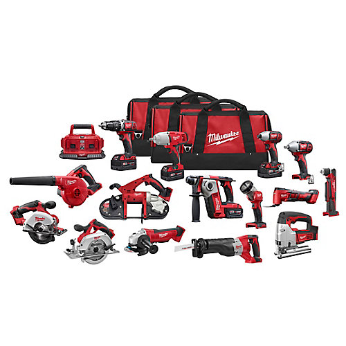 M18 18V Li-Ion Cordless Combo Tool Kit (15-Tool) w/(4)4.0Ah Batteries, 6-Port Charger & (3)Tool Bags