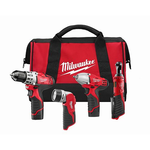 Milwaukee Tool M12 12V Lithium-Ion Cordless Combo Tool Kit (4-Tool) with (2) 1.5 Ah Batteries, Charger & Tool Bag