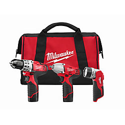 M12 12V Lithium-Ion Cordless Combo Tool Kit (3-Tool) with (2) 1.5 Ah Batteries, (1) Charger, (1) Tool Bag