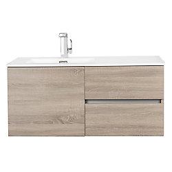Cutler Kitchen & Bath Beachwood Collection 42 inch Wall Mount Modern Bathroom Vanity - Dorato