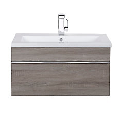 Trough Collection 30 inch Wall Mount Modern Bathroom Vanity - Dorato