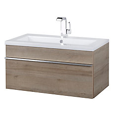 Trough Collection 30 inch Wall Mount Modern Bathroom Vanity - Organic