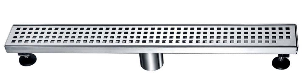 Luxury Drains Linear Shower Drain Square Grid, 24 inch.