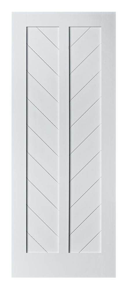 Colonial Elegance CHEVRON Model 37 inch W x 84 inch H x 1-3/8 inch Primed White Interior Barn Door
