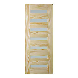 Colonial Elegance MILAN 33 x 84 x 1-3/8 inch Natural Pine 7-Lite Interior Barn Door with Frosted Glass