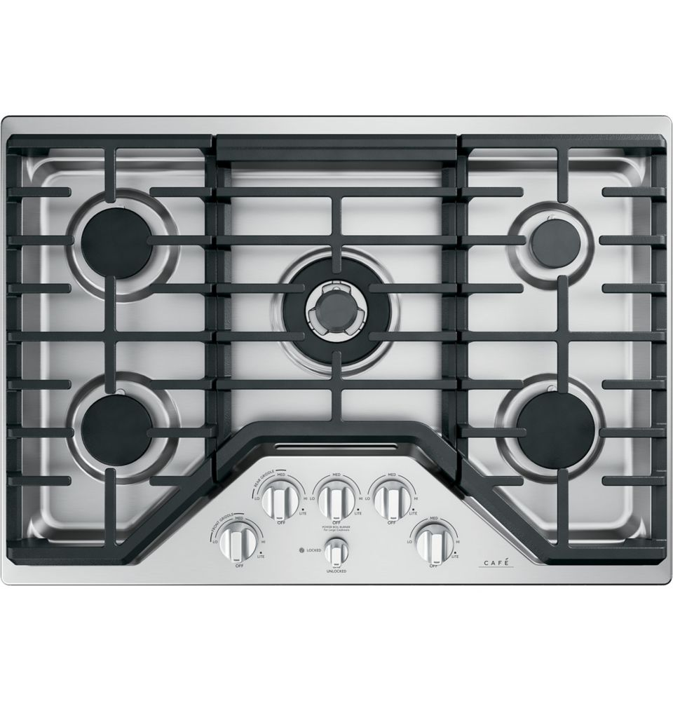 Café 30-inch Gas Cooktop in Stainless Steel with 5 Burners including 20,000 BTU Triple Burner