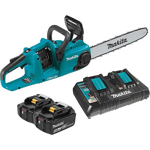 MAKITA 16-inch 18Vx2 LXT Cordless Chainsaw with 2 x 5.0Ah Li-Ion Batteries & Dual-Port Charger