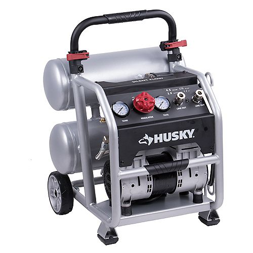 HUSKY 17L (4.5 Gal.) Portable Electric Twin Stack Silent Air Compressor