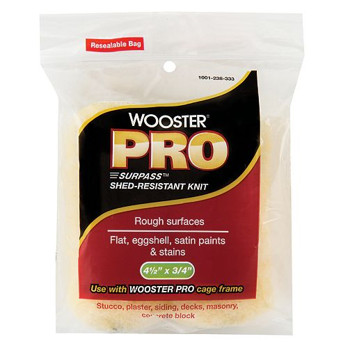 Wooster 4.5 inch x 3/4 inch (115mm x 20mm) Pro Surpass Knit Mini Roller Cover (2-Pack)