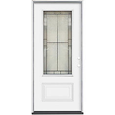 Porte extérieure 32 x 4 9/16 Verre 3/4 Noir Antique  Ouverture Gauche