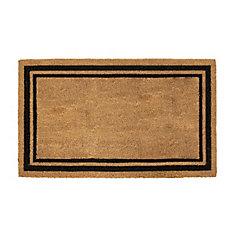 Simple 18-inch x 30-inch Indoor/Outdoor Rectangular Coir Door Mat with Black Printed Border
