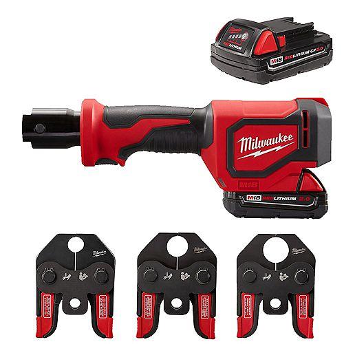 Milwaukee Tool M18 18V Li-Ion Cordless Short Throw Press Tool Kit w/ 3 PEX Crimp Jaws (2) 2.0Ah Batteries & Charger