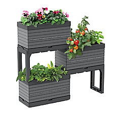 Botanica,  Modular Garden, 3 Planters and 2 Legs kit, grey  Perfect for balcony gardens