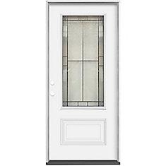 Porte extérieure 36 x 4 9/16 Verre 3/4 Noir Antique  Ouverture Droite